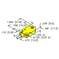 BI3-Q06-AP6X2 - Turck 6mm rectangular sensor, Embeddable 3-Wire DC PNP   Turck Sensor Wiring Diagram Pnp      Walker Industrial