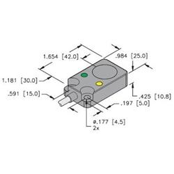 BI8U-Q10-AP6X2 - Turck 10mm rectangular sensor, Embeddable Potted-In, Uprox  3-Wire DC PNPWalker Industrial