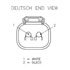 Deutsch DT Connector, Male, 2-Wire, 1M (DT04-2P-2125-1M