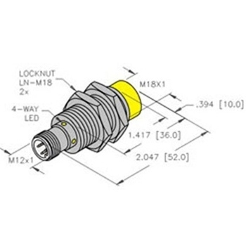 NI12U-EM18-AN6X-H1141 -Turck 18mm Barrel Sensor, Nonembeddable, Eurofast  Quick Disconnect, Uprox 3-Wire DC NPN | Turck Npn Sensor Wiring Diagram |  | Walker Industrial