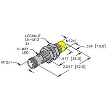 NI8U-EM12E-VP4X-H1141 -Turck 12mm Barrel Sensor, Nonembeddable, Eurofast  Quick Disconnect, Uprox 4-Wire DC PNPWalker Industrial